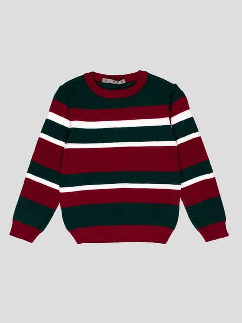 Джемпер бордово-зеленый в полоску Flash 4397413