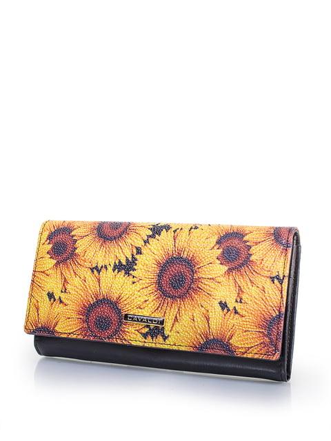 Гаманець чорний з квітковим принтом 4U CAVALDI 4413483