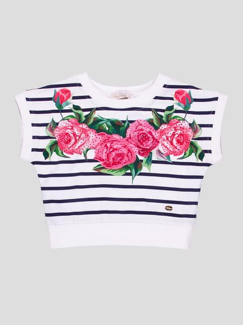 Топ білий в смужку з квітковим принтом De Salitto 4413038