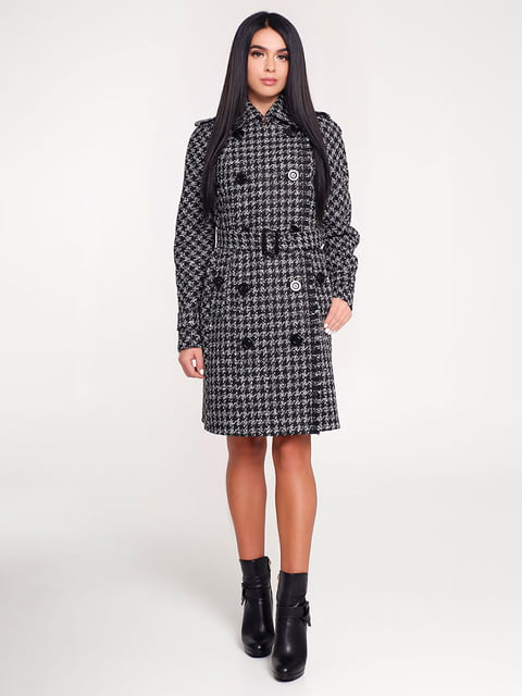 Пальто черное в клетку Favoritti 4421219