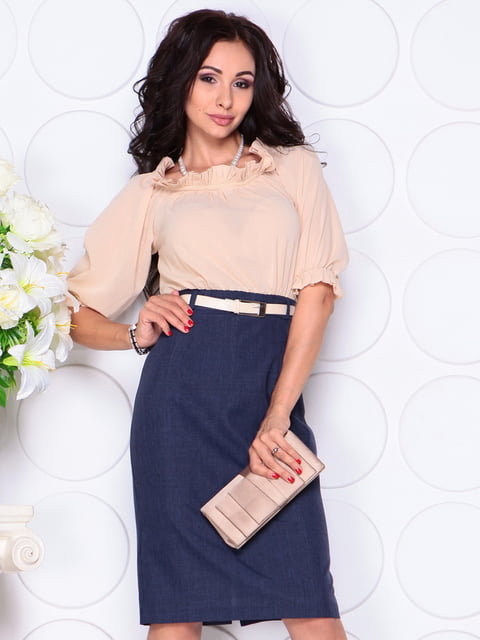 Платье бежево-синее Laura Bettini 4414397