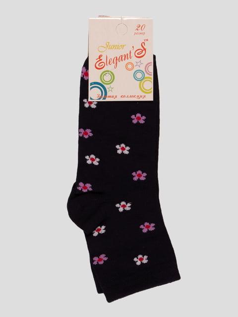 Шкарпетки темно-сині в квітковий принт ELEGANTS 4412090