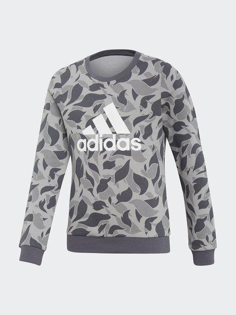 Джемпер серый в принт Adidas 4440808