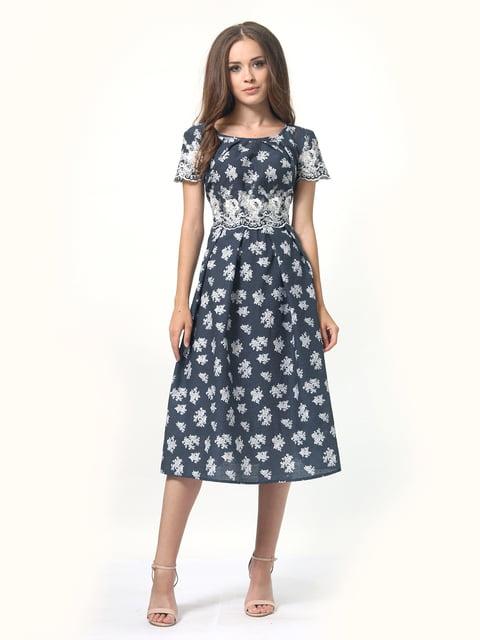 Платье темно-синее в горошек и цветочный принт AGATA WEBERS 4418796