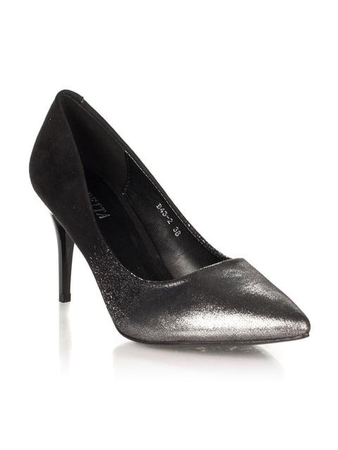 Туфлі сріблясто-чорні Loretta 4445712