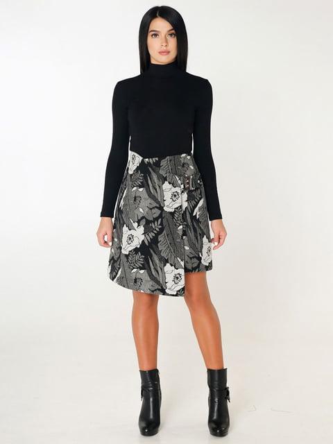 Юбка черная в цветочный принт Favoritti 4450209