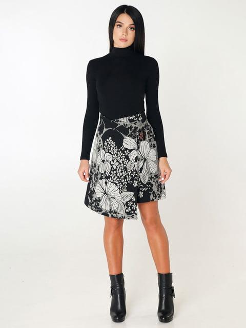 Юбка черная в цветочный принт Favoritti 4450210