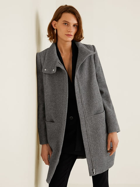 Пальто серое Mango 4440584