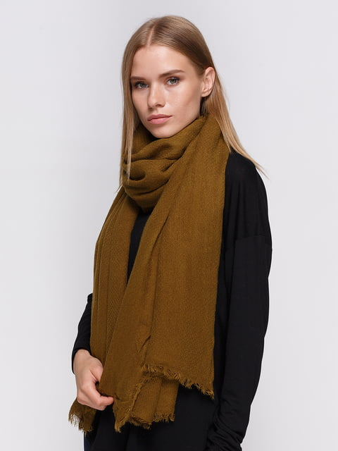 Палантин цвета хаки Zara 3911483
