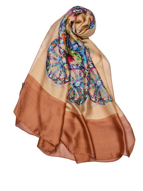 Палантин коричневый с принтом Fashion Look 4460751