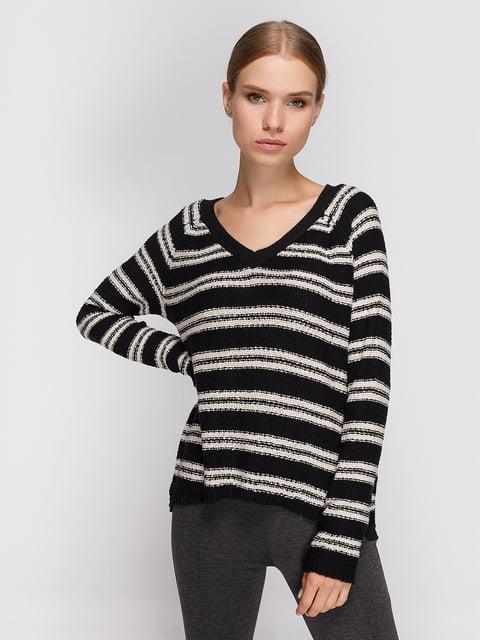 Пуловер чорний в смужку Springfield 3966609