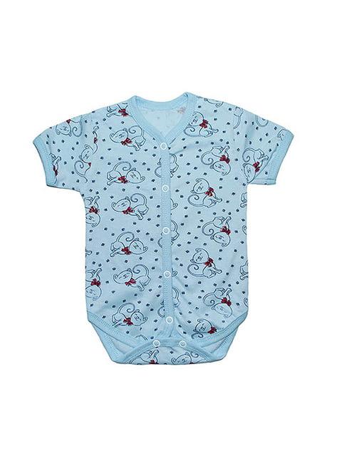 Боди голубое с принтом Малыш 4466023