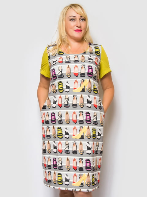 Платье оливково-серое в полоску и принт LibeAmore 4469192