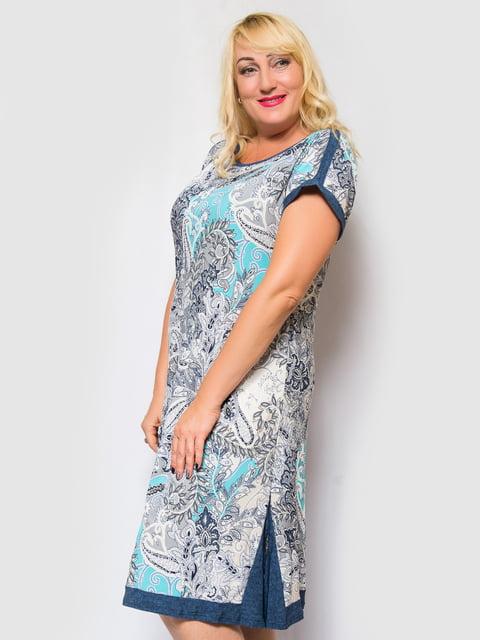 Сукня бірюзова з принтом LibeAmore 4469253