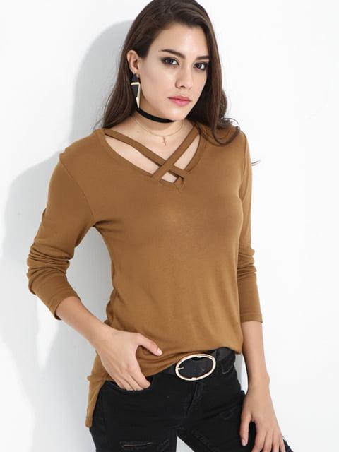Лонгслив коричневый UNQ 4474651