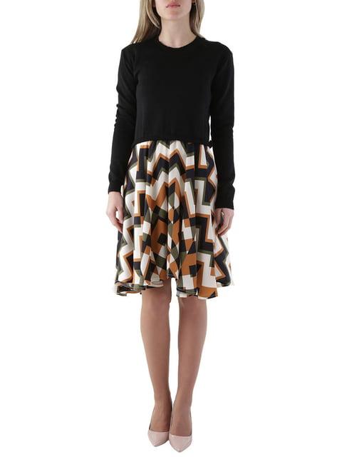 Платье черное в зигзагообразную полоску Olivia Hops 4490067