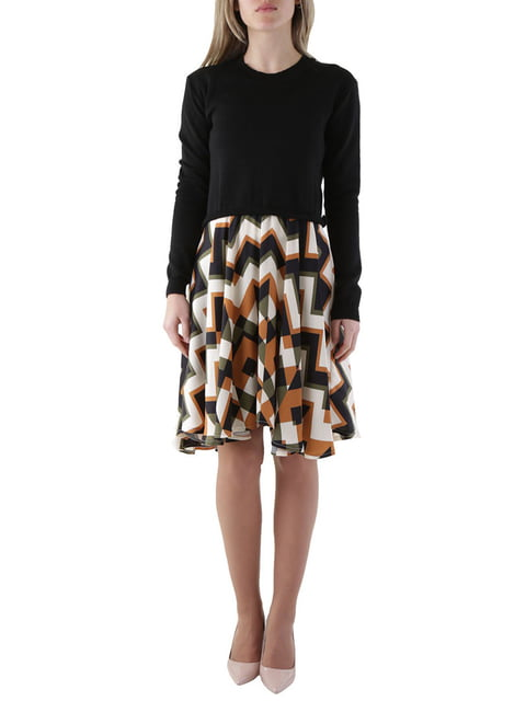 Сукня чорна в загзагоподібну смужку Olivia Hops 4490067