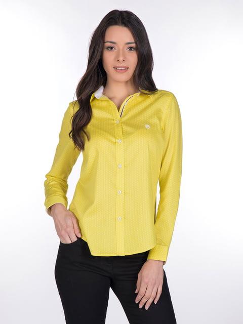 Сорочка жовта в принт Giorgio di Mare 4138133