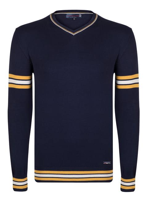 Пуловер синій зі смужками Giorgio di Mare 4489238