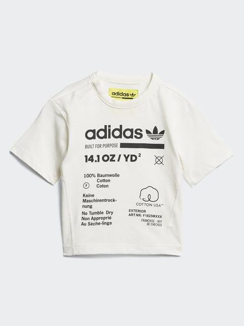 Футболка молочна з принтом Adidas 4458727