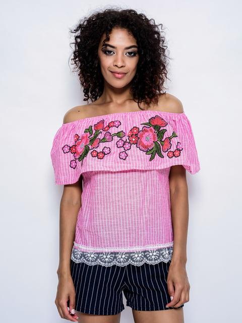 Блуза сиреневая с вышивкой Magnet 4214492