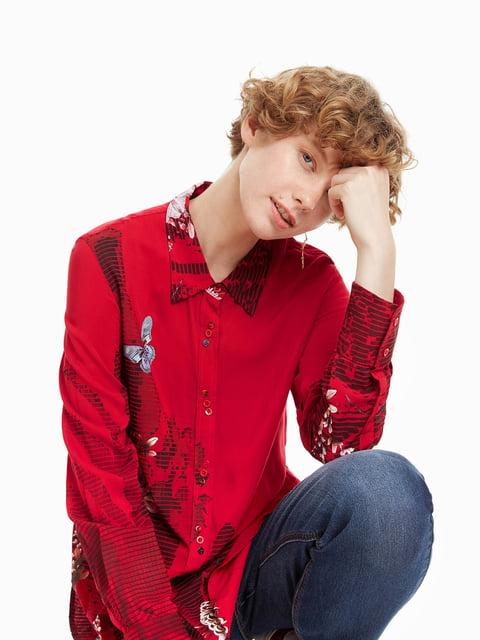Рубашка красная с принтом Desigual 4524278