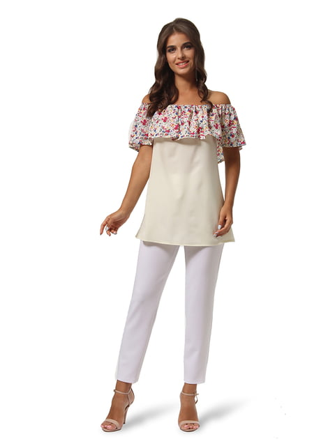 Туника молочного цвета с цветочным принтом AGATA WEBERS 4535727