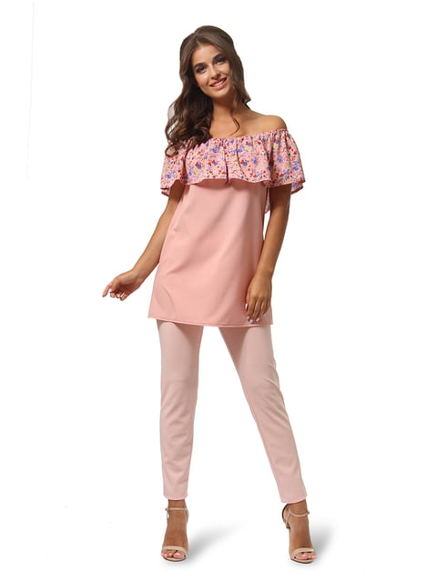 Туника пудрового цвета с цветочным принтом AGATA WEBERS 4535728