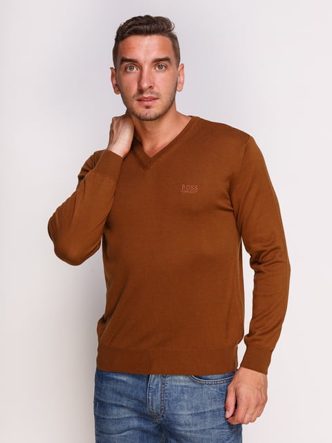 Пуловер коричневый HUGO BOSS 4532491