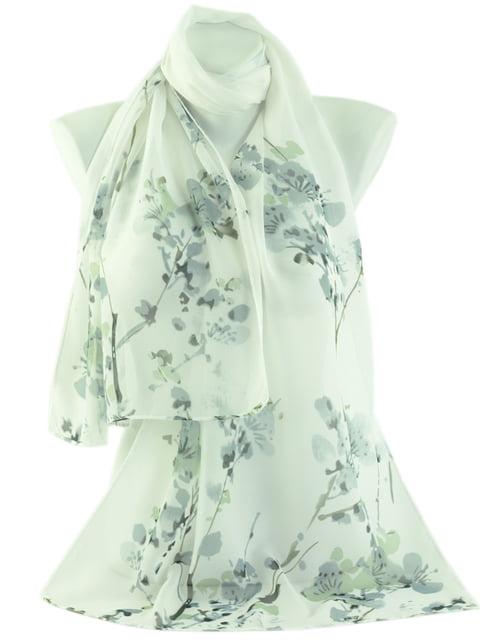 Шарф білий в квітковий принт Traum 4510485