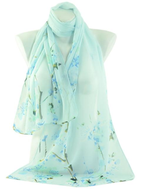 Шарф блакитний в цветочный принт Traum 4510486