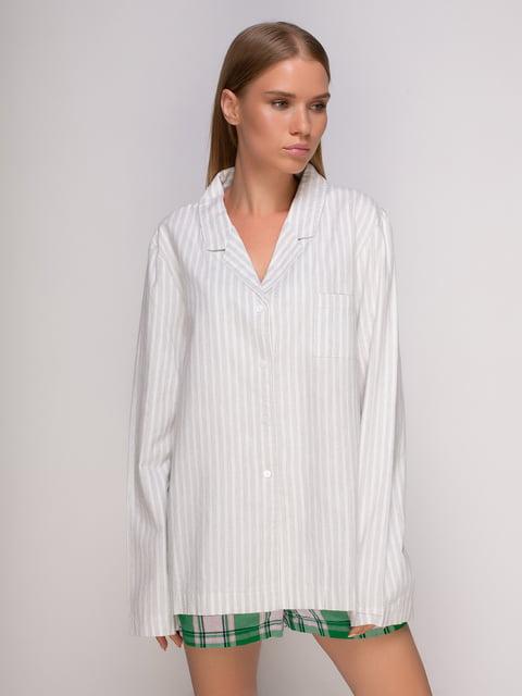 Рубашка серая в полоску домашняя Oysho 4506856