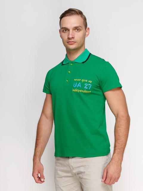 Футболка-поло зелена з принтом Manatki 4578470