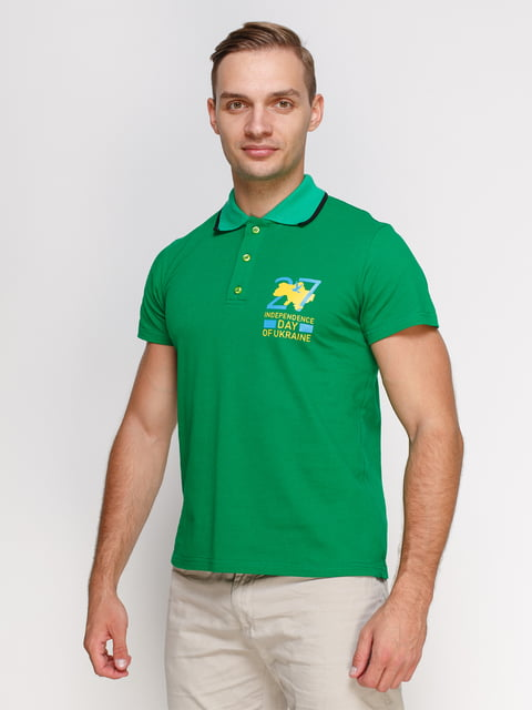 Футболка-поло зелена з принтом Manatki 4578510