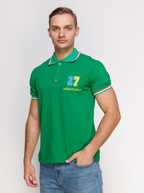 Футболка-поло зелена з принтом Manatki 4578519