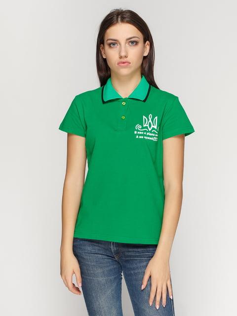 Футболка-поло зеленая с принтом Manatki 4578488
