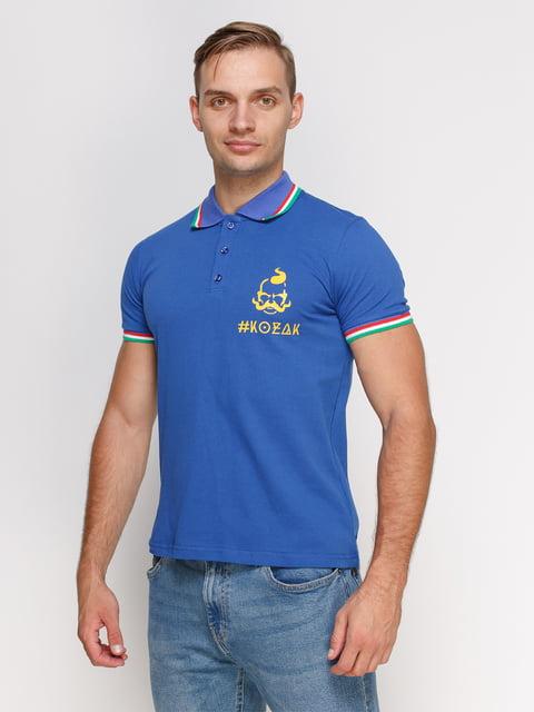 Футболка-поло синяя с принтом Manatki 4578476