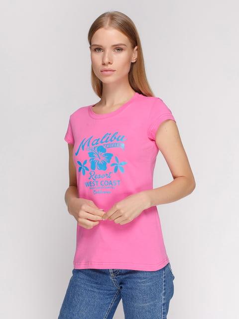 Футболка розовая с принтом Manatki 4578079