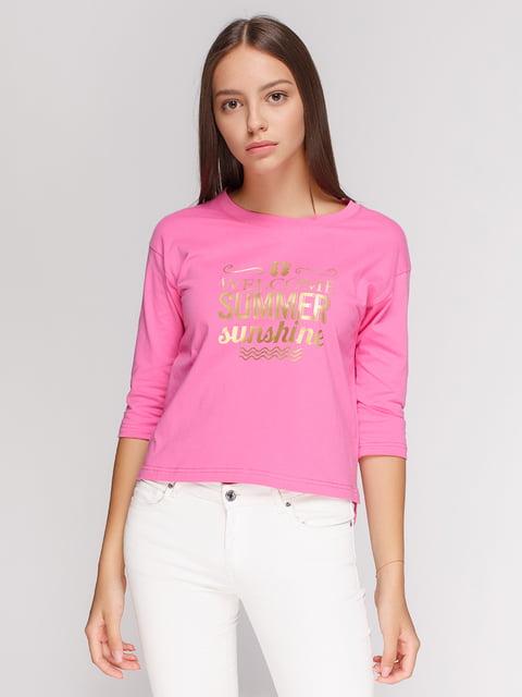 Лонгслів рожевий з принтом Manatki 4578147