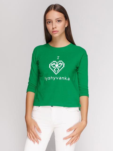 Лонгслив зеленый с принтом Manatki 4578153