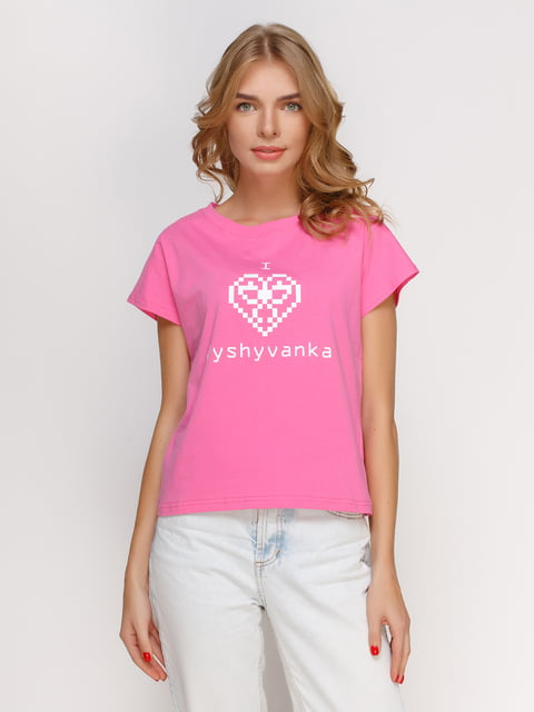 Футболка рожева з принтом Manatki 4578218