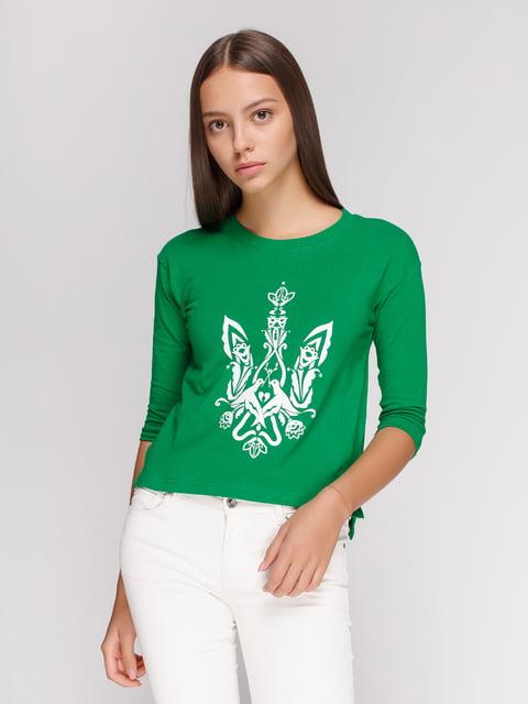 Лонгслів зелений з принтом Manatki 4578160