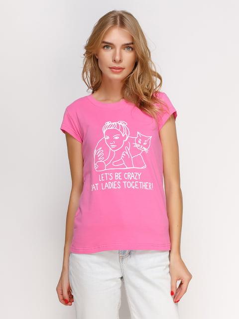 Футболка розовая с принтом Manatki 4578581
