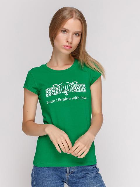 Футболка зелена з принтом Manatki 4578105