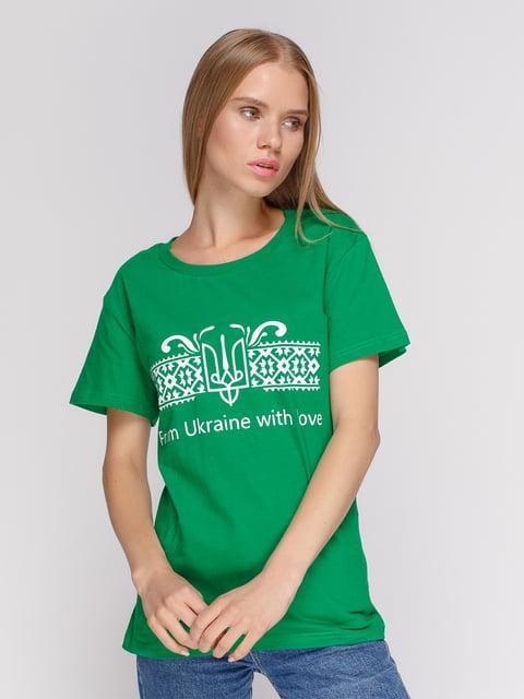 Футболка зеленая с принтом Manatki 4577867