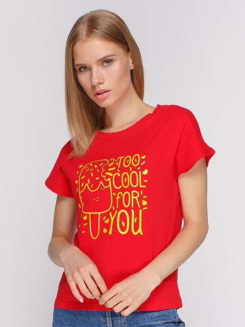 Футболка красная с принтом Manatki 4578141