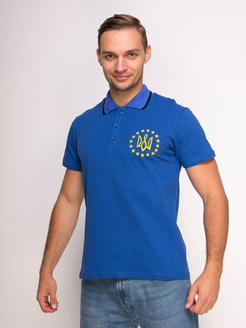 Футболка-поло синяя с принтом Manatki 4583043