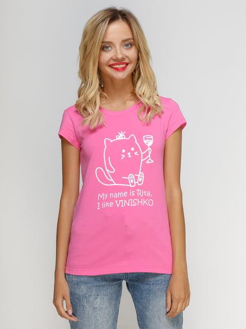 Футболка розовая с принтом Manatki 4590789