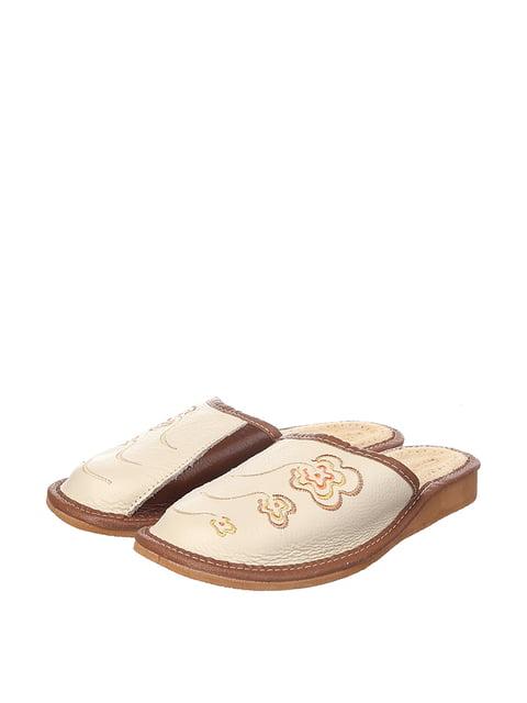 Тапочки бежевые с вышивкой Nowbut 4599488