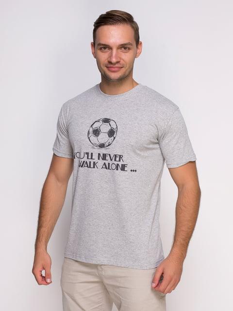 Футболка сіра з принтом Manatki 4577899